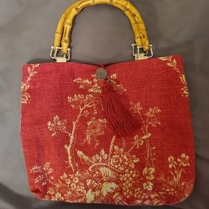 Red Stitch Red and Off White Floral Print Handbag